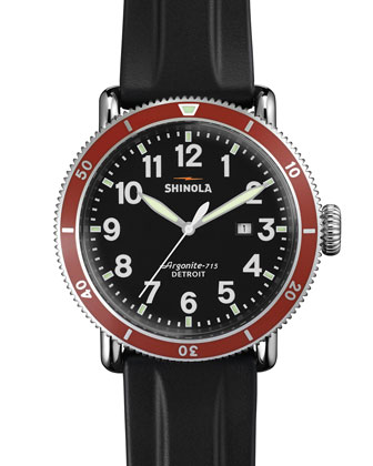 48mm Runwell Sport Chronograph Watch with Rubber Strap, Black/Red