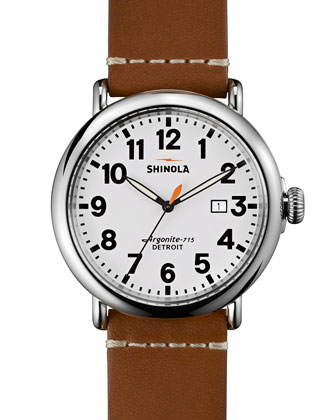 47mm Runwell Leather Watch, Brown