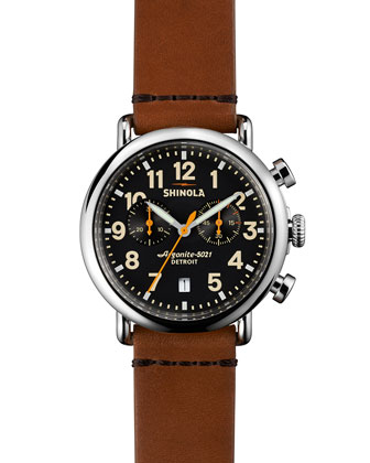41mm Runwell Chrono Watch, Tan/Black
