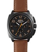 46mm Brakeman Chronograph Watch, Black/Brown
