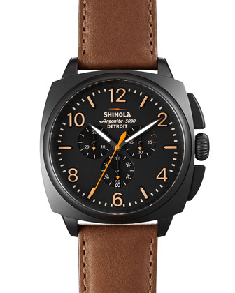 46mm Brakeman Chronograph Watch, Black/Brown