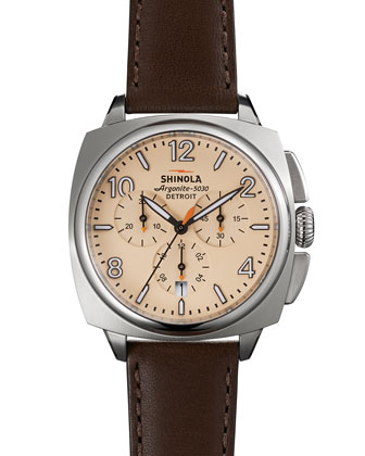 40mm Brakeman Chronograph Watch, Cream/Brown