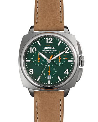 40mm Brakeman Chronograph Watch, Green/Brown