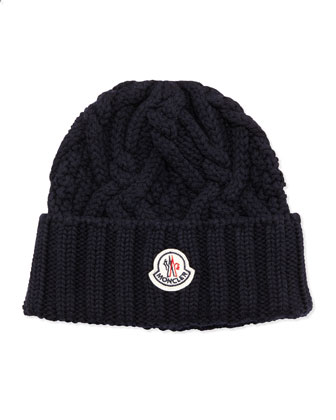 Cable Knit Logo Cap, Navy