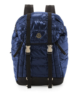 Quilted Nylon Flap Backpack, Blue