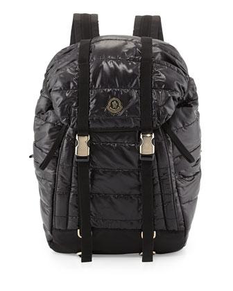 Men's Quilted Nylon Flap Backpack, Black