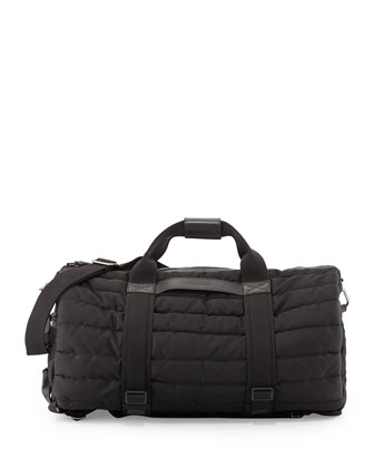 Quilted Nylon Gym Bag, Black