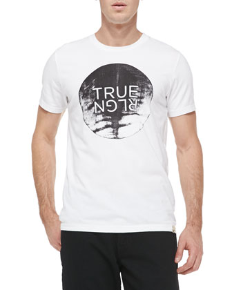 Moon Rise Crewneck Logo Tee, White