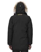 Langford Arctic-Tech Parka Jacket with Fur Hood, Navy