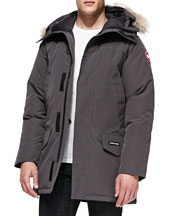 Langford Arctic-Tech Parka Jacket with Fur Hood, Graphite