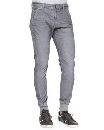 Corduroy Runner Pants, Light Gray