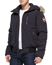 Borden Fur-Hood Bomber Jacket, Navy