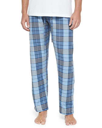 Plaid Two-Piece Pajama Set, Blue Multi