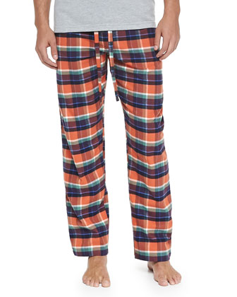 Plaid Two-Piece Pajama Set, Orange