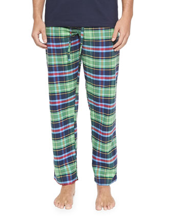 Plaid Two-Piece Pajama Set, Green