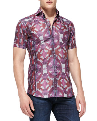 Printed Mini D-Matis Sport Shirt, Burgundy