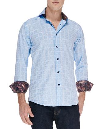 D-Mateo Tonal-Jacquard Sport Shirt, Light Blue
