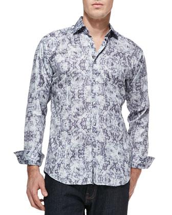 Blake Cotton Printed Long-Sleeve Shirt