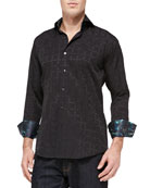 D-Mateo Tonal-Jacquard Sport Shirt, Black
