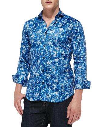 Giorgio Printed Sateen Sport Shirt, Navy