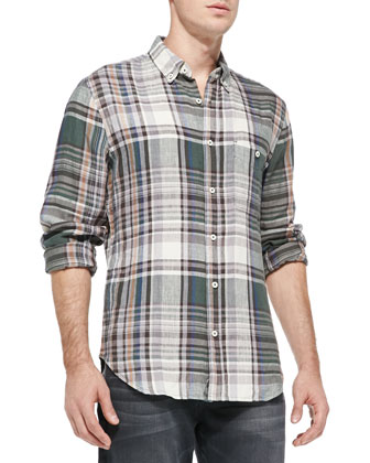 Plaid Linen Button-Down Shirt, Green