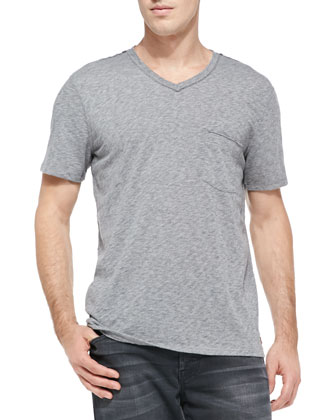 Raw-Edge V-neck Tee, Gray
