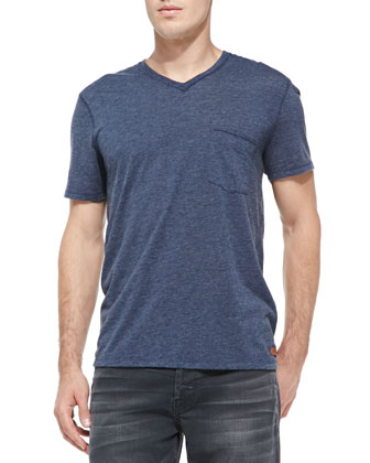 Raw-Edge V-neck Tee, Navy