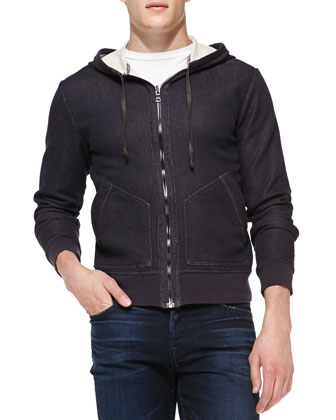Elbow Patch Jersey Hoodie, Navy