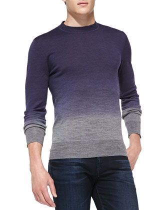 Dip-Dye Crewneck Slub-Knit Sweater, Navy