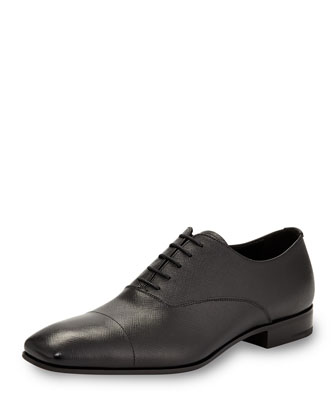 Saffiano Leather Oxford, Black