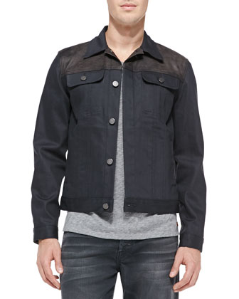 Luxe Performance: Modern Trucker Jacket, Grey
