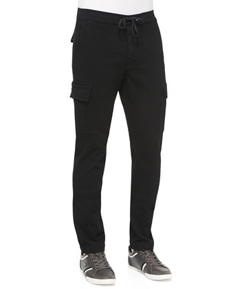 Drawstring Cargo Pants, Black