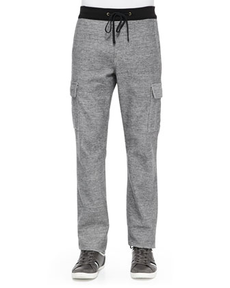 Melange Relaxed Knit Cargo Pants, Gray