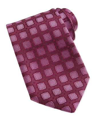 Medallion Pattern Silk Tie, Burgundy/Pink