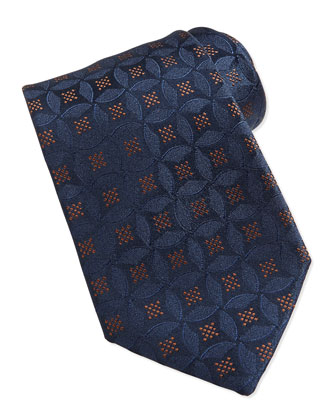 Medallion Pattern Silk Tie, Brown/Blue