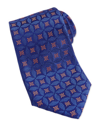 Medallion Silk Jacquard Tie, Blue/Orange