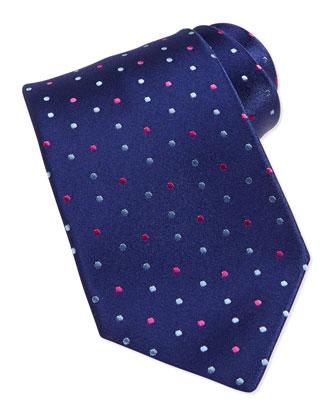 Neat Polka-Dot Silk Tie, Navy/Pink