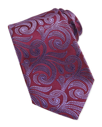Paisley Pattern Woven Tie, Burgundy/Pink