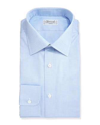 Grid Check Dress Shirt, White/Blue