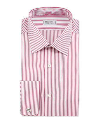 Striped French-Cuff Dress Shirt, Berry/White