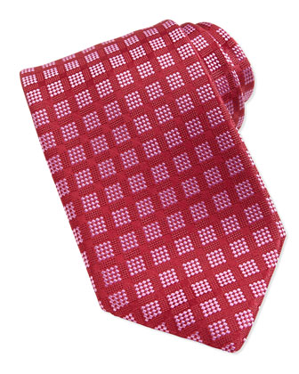 Windows Pattern Woven Tie, Burgundy/Pink