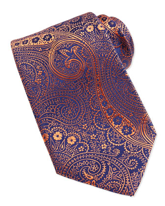 Paisley Pattern Woven Tie, Blue/Orange