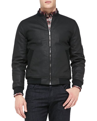 Coated Bomber Jacket, Black