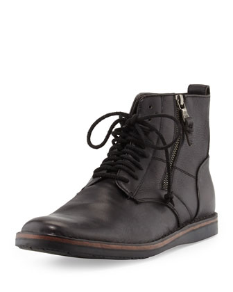 Barrett Side Zip Leather Boot, Black