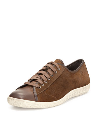 Hattan Low Top Suede Sneaker, Dark Brown