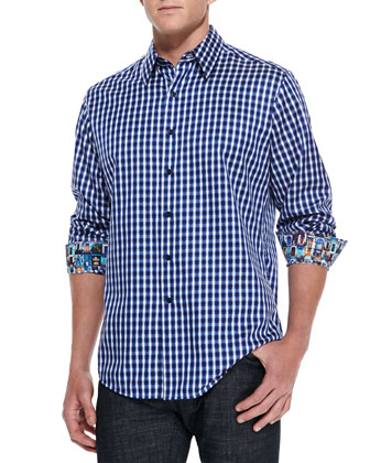Johnnie Check Sport Shirt, Purple