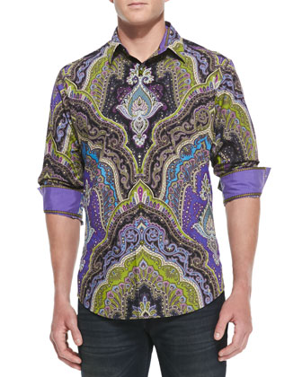 Virgil Paisley-Print Sport Shirt, Black