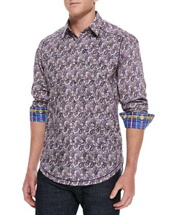 Flute Paisley-Print Sport Shirt, Purple