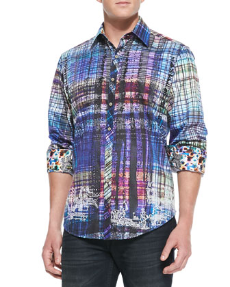 Gingerman Abstract-Plaid Sport Shirt, Multi