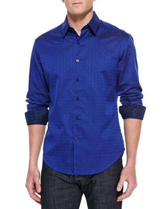 Whitehorse Tonal-Jacquard Sport Shirt, Blue